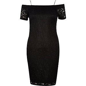 Black lace bardot dress
