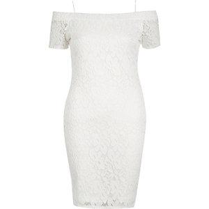 Cream lace bardot dress