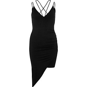 Black ruched asymmetric hem dress