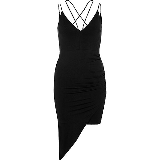 Black ruched asymmetric hem dress