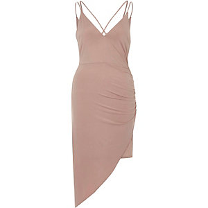 Light pink ruched asymmetric hem dress