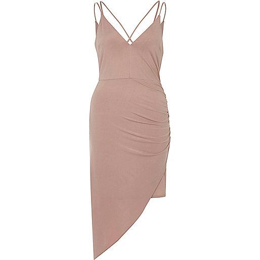 Light pink ruched asymmetric hem dress