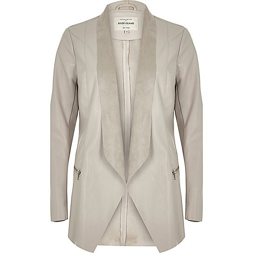Beige leather-look jacket