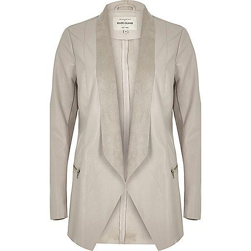 Beige leather-look jacket