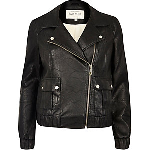 Black textured leather look biker bomber