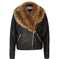 Black leather look faux fur trim biker jacket