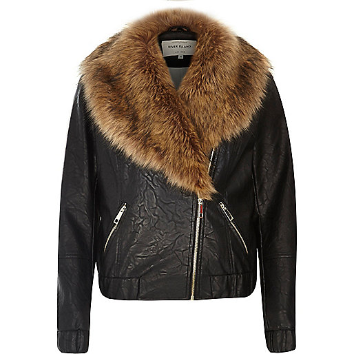 Black leather look faux fur trim biker jacket