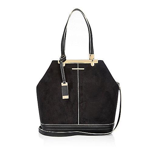 Black panel bucket handbag