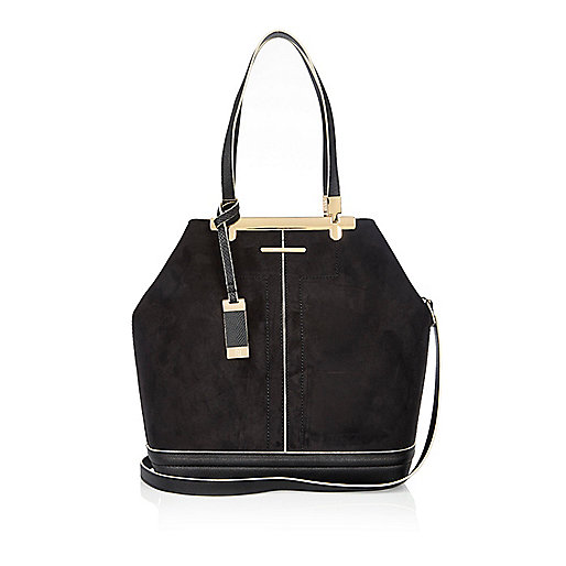 Black panel bucket handbag