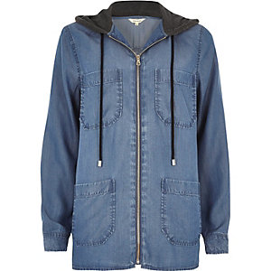 Denim look hooded shacket