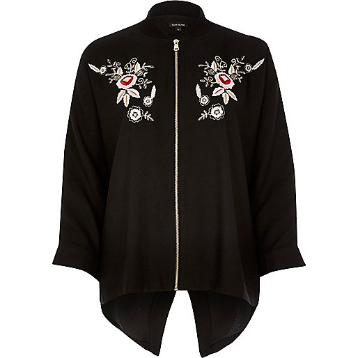 Black embroidered lightweight bomber jacket