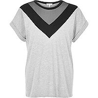 T-shirt boyfriend en tulle gris à empiècements color block