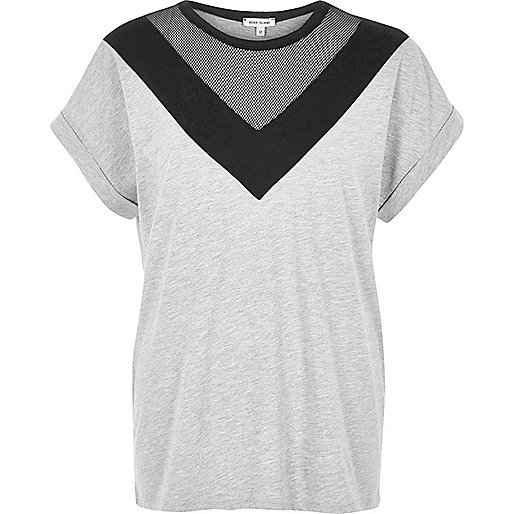 T-shirt boyfriend en tulle gris à empiècements color block