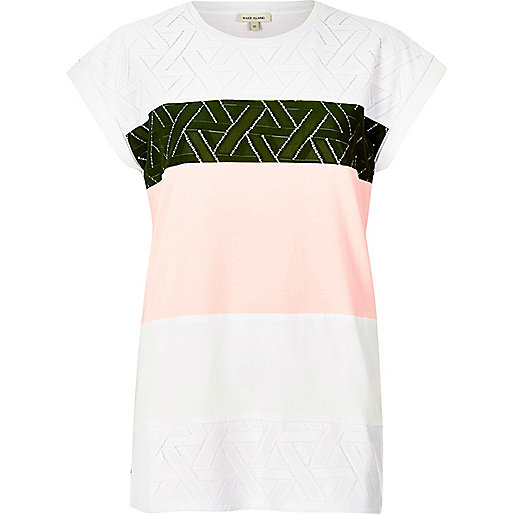 T-shirt boyfriend kaki en dentelle color block