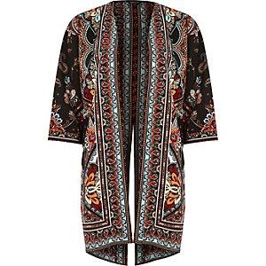 Kimono imprimé cachemire noir