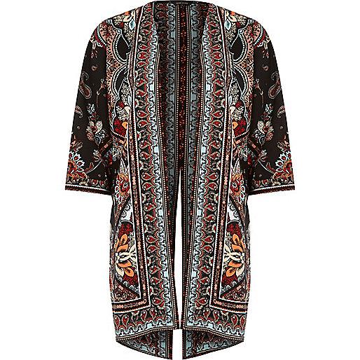 Black paisley print kimono