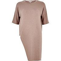 Pink asymmetric hem sweat t-shirt