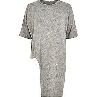 T-shirt en molleton gris chiné à ourlet asymétrique