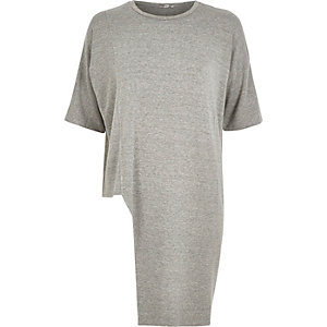 Grey marl asymmetric hem sweat t-shirt