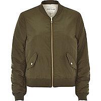 Khaki nylon bomber jacket