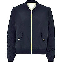 Marineblaue Nylon-Bomberjacke