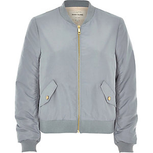 Light blue nylon bomber jacket