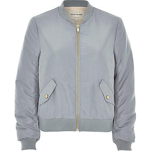 Light blue nylon bomber jacket