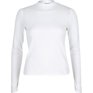 White ribbed turtle neck top