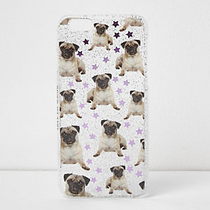Glitter pug print iPhone 6 case