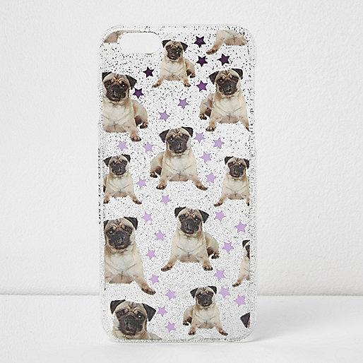 Glitter pug print iPhone 6 case