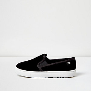 Black velvet wide fit plimsolls