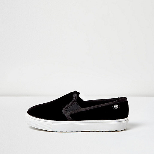 Black velvet wide fit plimsolls