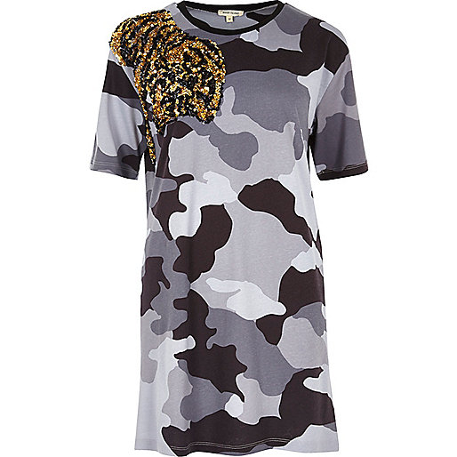 Grey camo tiger embellished longline T-shirt