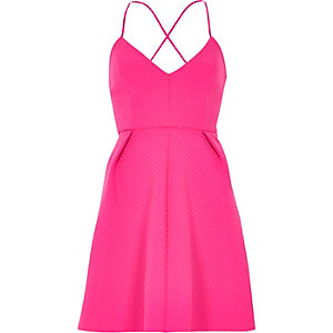 Pink strappy skater dress