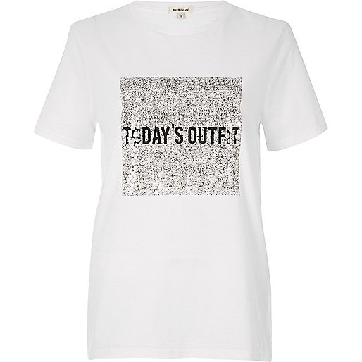 White 'Today's Outfit' print T-shirt
