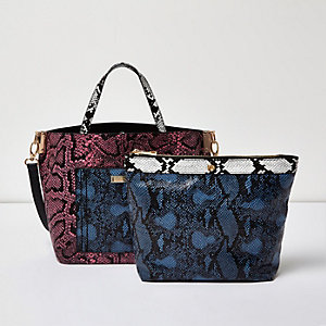 Pink snake print tote handbag and pouch