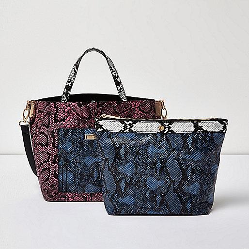 Pink snake print tote handbag and pouch