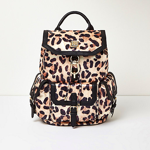 Cream leopard print backpack