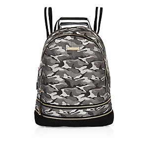 Grey camouflage print stripe backpack