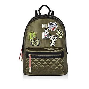 Khaki badge patch backpack