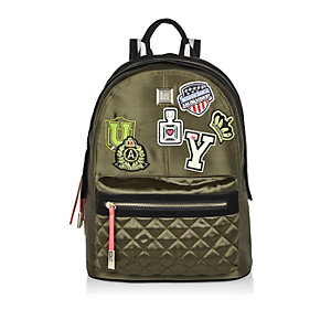 Khaki badge patch backpack