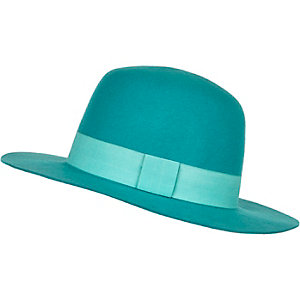 Turquoise high crown fedora hat