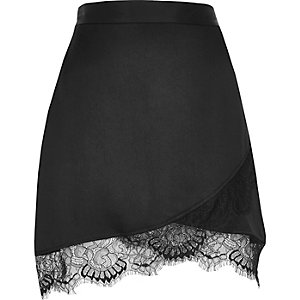 Black satin lace hem mini skirt