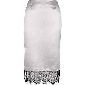 Silver satin lace hem pencil skirt