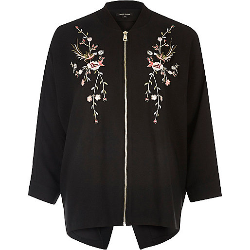 Black embroidered lightweight bomber