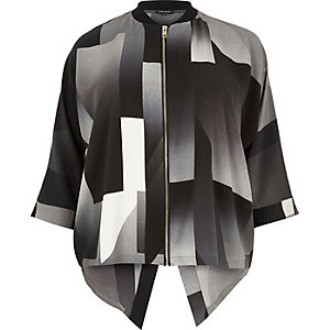 RI Plus black print zip shirt