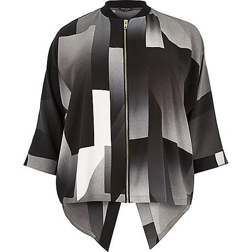 RI Plus – Schwarzes Hemd mit Muster und Reißverschluss