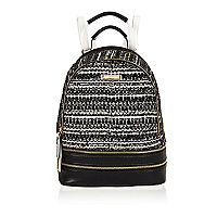 Black print bouclé backpack