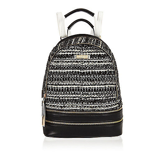 Black print bouclé backpack