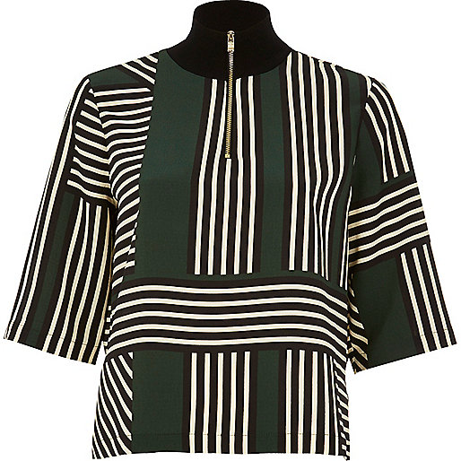 Green stripe wide sleeve top